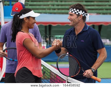 Melbourne Australia - January 9 2017: Destanee Aiava and Pat Cash at the opening of the Kooyong Classic Exhibition tournament
