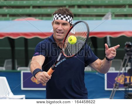 Melbourne Australia - January 9 2017: Pat Cash volleys at the opening of the Kooyong Classic Exhibition tournament