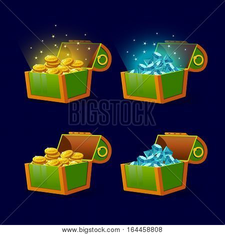 Green Chest set for game interface.Vector illustration. treasure of gold coins on dark background. Open jewelry and diamonds