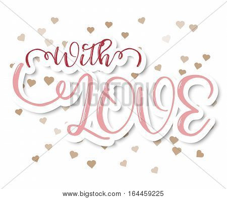 With Love Abstract Greeting Card with Hearts Background Vector Illustration
