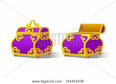 Purple Chest set for game interface.Vector illustration. Treasure on white background closed, empty.