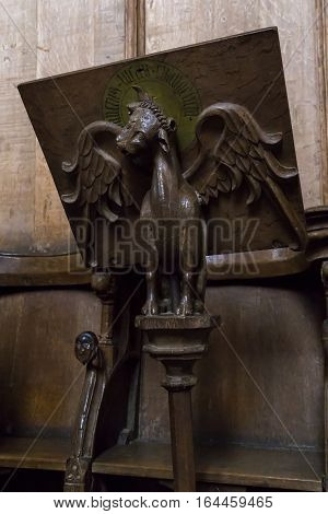 ROSKILDE, DENMARK - JUNE 26, 2016: This is carved wooden music stand in the presbytery of the cathedral in Roskilde.