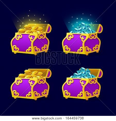 Purple Chest set for game interface.Vector illustration. treasure of gold coins on dark background. Open jewelry and diamonds