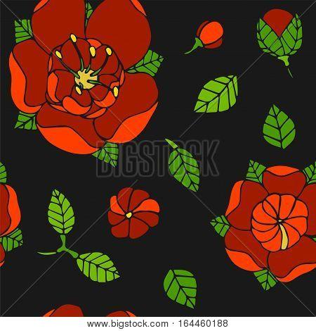 spring beautiful floral seamless pattern, handdrawn vector illustration