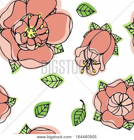 spring beautiful floral seamless pattern, handdrawn vector illustration