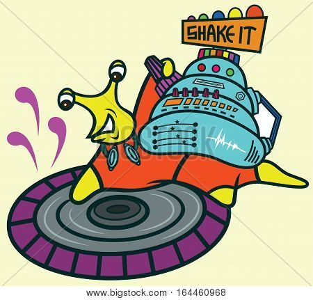 Disc Jockey Snail Cartoon Character. Vector Illustration.