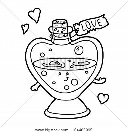 Vector illustration of cute cartoon love elixir character for children, coloring page