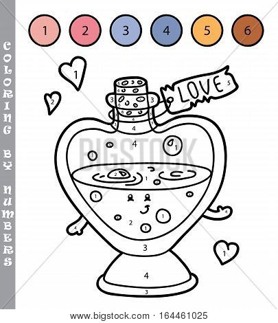 Vector illustration coloring by numbers educational game with cartoon love elixir for kids