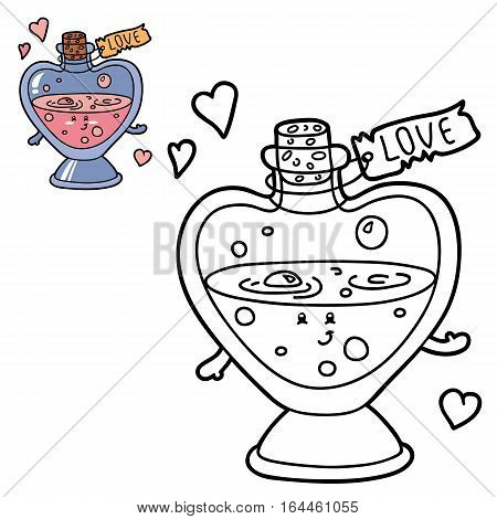 Vector illustration coloring page of happy cartoon love elixir for children, coloring and scrap book