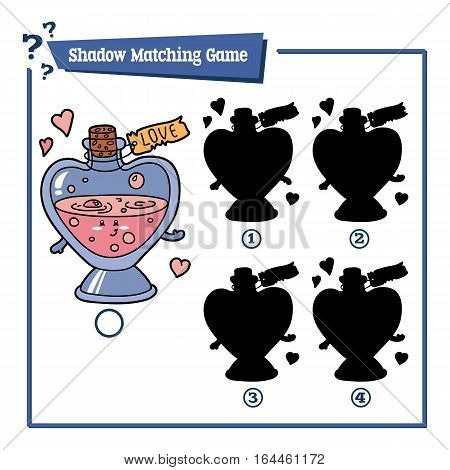 Vector illustration of educational shadow matching game with cartoon love elixir for children