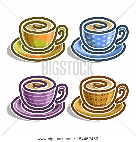 Vector set abstract Coffee Cups: colorful minimalistic teacup with handle and saucer, simplistic logo mocha cup with swirl, porcelain mug espresso drink with blue polka dot pattern, isolated on white.