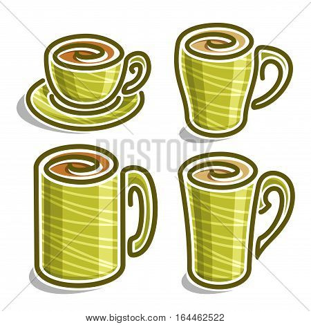 Vector set abstract icons tea Cup: green minimalistic teacup with handle and saucer, simplistic logo cappuccino cup with swirl, big porcelain mug espresso coffee drink with stripes, isolated on white.