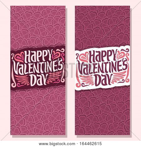 Vector abstract banners for Happy Valentine's Day: floral background, pink greeting valentines card, lettering on flower pattern, vertical banner for text holiday st. valentine, heart in clover petal.