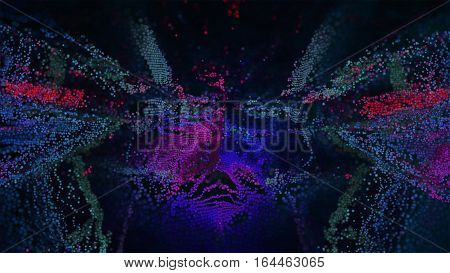Abstract 3D Illustration backround. Pink Purple cloud dispersing in digital space