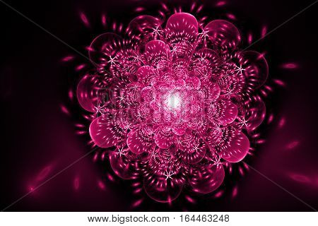 Abstract Exotic Flower With Glowing Sparkles On Black Background. Fantasy Fractal Design In Crimson