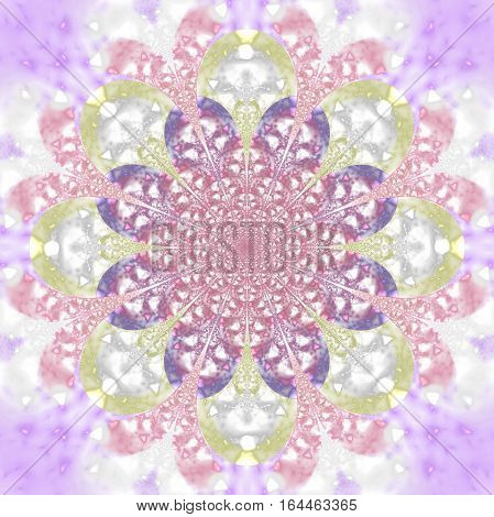 Abstract Exotic Flower. Psychedelic Mandala Design In Light Pink, Blue And Yellow Colors. Fantasy Fr