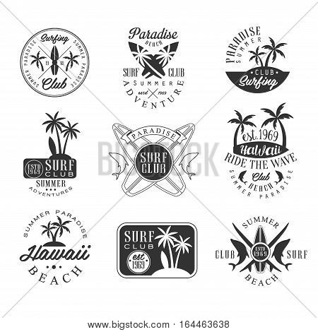 Summer Vacation In Hawaii Black And White Sign Design Templates With Text And Tools Silhouettes. Collection Of Monochrome Vector Emblems For Beach Surfing Holydays Advertisement.