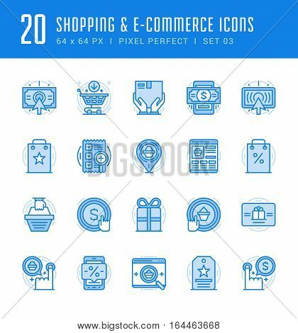 Line icons set. Flat thin linear stroke vector Shopping concepts. For website graphics, Mobile Apps, Infographics. Pictogram pack. Easy resize to 128, 256, 512 pixels, easy edit colors.