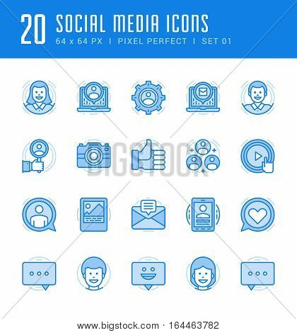 Line icons set. Flat thin linear stroke vector Social Media concepts. For website graphics, Mobile Apps, Infographics. Pictogram pack. Easy resize to 128, 256, 512 pixels, easy edit colors.