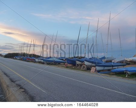 Small Sailing Boats Seen From A Road