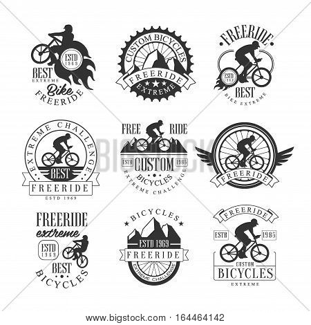Custom Made Free Ride Bike Shop Black And White Sign Design Templates With Text And Tools Silhouettes. Collection Of Monochrome Vector Emblems For Off-Road Bicycle Club Advertisement.