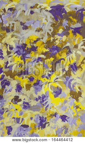 Abstract art color background  in shades of violet and yellow. Hand-painted background.Gouache painting on paper. Vertical composition