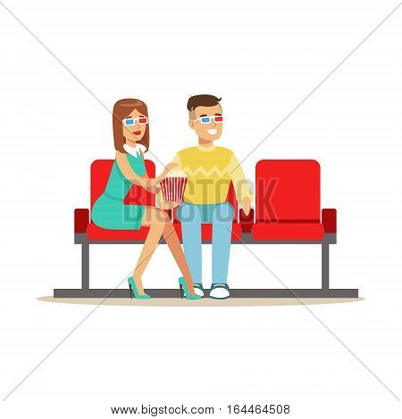 Couple Sitting In Cinema Room Wathing A Movie, Part Of Happy People In Movie Theatre Series. Vector Illustration With Cartoon Characters Indoors At The Movies