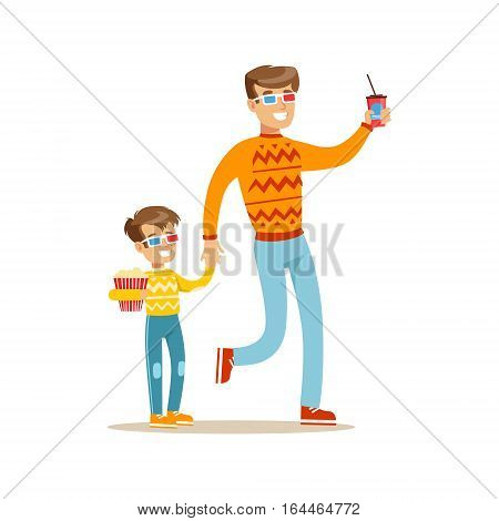 Father And Son Holding Hands Going To Cinema, Part Of Happy People In Movie Theatre Series. Vector Illustration With Cartoon Characters Indoors At The Movies