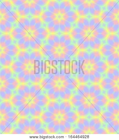 Abstract light colorful floral pattern.  Multicolor tile texture background.  Rainbow colored seamless illustration.