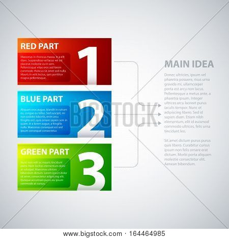 3 Colorful Banners, Numbered From One To Three, With Arrows Leading To The Main Idea. Useful For Dem