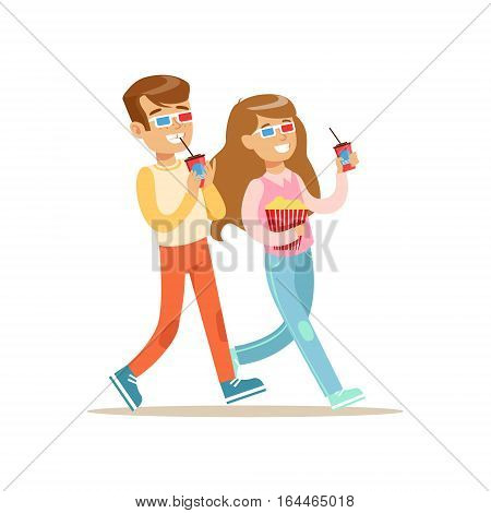 Boy And Girl Going To Cinema Together, Part Of Happy People In Movie Theatre Series. Vector Illustration With Cartoon Characters Indoors At The Movies