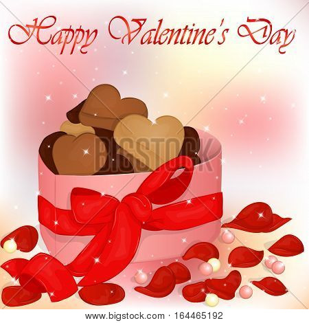 Happy Valentine's Day card with box of cookies, pearls and rose petals. Background for valentine's day. Valentine's Day greeting card in cartoon style. Vector illustration. Holiday Collection.