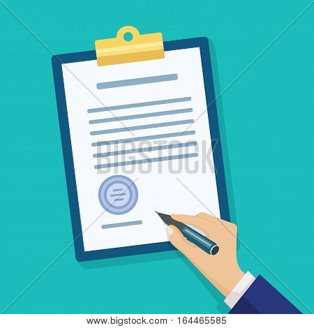 Male hand signing document. Hand filling checklist on clipboard. Modern flat design concept for web banners, web sites, printed materials, infographics.