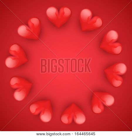 Realistic Red Romantic Hearts Circle Decoration. Card and Invitation of Happy Valentines Day Greetings. Vector Illustration.