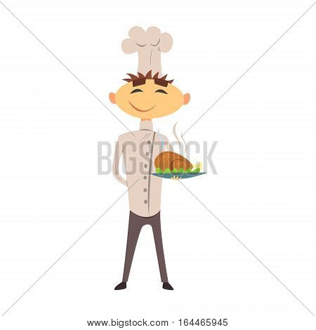 Professional Cook In Classic Double Breasted White Jacket And Toque With Roasted Chicken Dish. Colorful Vector Chef Cartoon Character Cooking In Restaurant Kitchen Illustration.