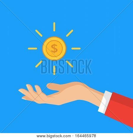 Hand holding dollar coin. Business concepts in flat style. Vector illustration with dollar.