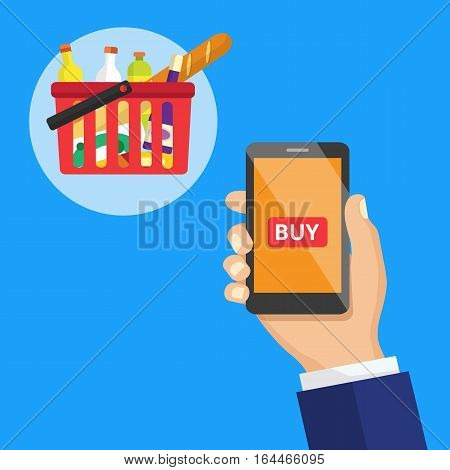 Smartphone screen with buy button and supermarket basket full of food. Hand holing smart phone with buy button on the screen. E-commerce flat vector illustration. Creative concept for web banners.