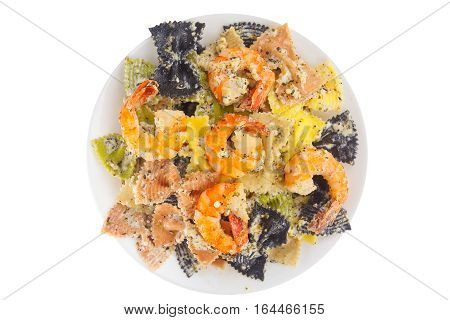 Appetizing Colored Farfalle Pasta With Chrimp
