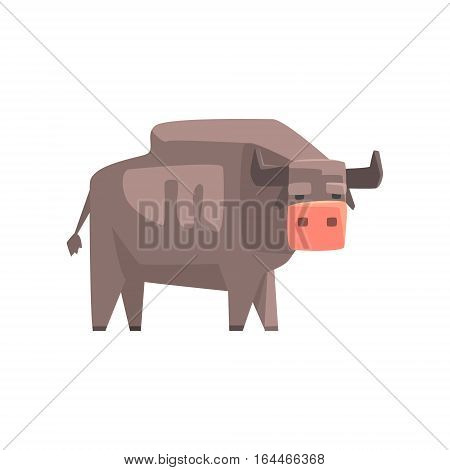 Grey Bull, Toy Simple Geometric Farm Cow Browsing, Funny Animal Vector Illustration. Stylized Farming Animal For Video Game Platformer With Geometrical Design.