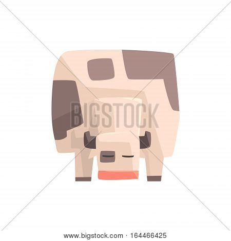 Toy Simple Geometric Farm Cow Facing Ground Browsing, Funny Animal Vector Illustration. Stylized Farming Animal For Video Game Platformer With Geometrical Design.