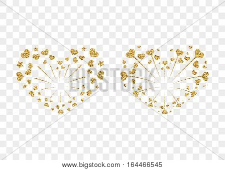 Heart Fireworks Gold Set Vector Isolated