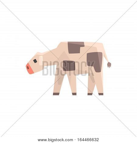 Toy Simple Geometric Farm Cow Calf Browsing, Funny Animal Vector Illustration. Stylized Farming Animal For Video Game Platformer With Geometrical Design.