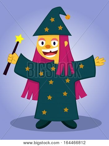 Happy Little Wizard with Magic Wand Cartoon Character