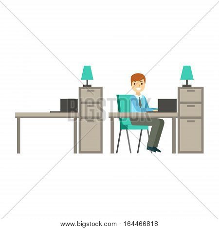 Man Working Office, Coworking In Informal Atmosphere In Modern Design Office Infographic Illustration. Office Worker In Comfortable Working Environment Simple Cartoon Drawing.