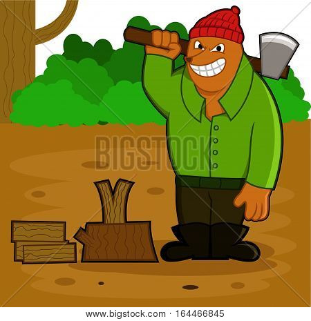 Lumberjack Bear with Ax at Work with Background Cartoon Illustration
