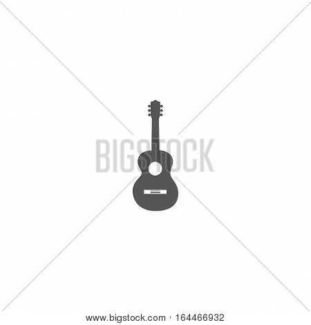 Grey guitar icon or symbol isolated on white backgorund.