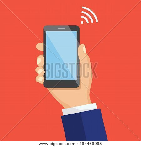 Hand holding mobile phone in flat design style. Modern concept for web banners, web sites, infographics. Wifi Signal Concept.Vector illustration.