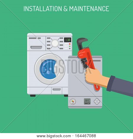 Plumbing Service, Installation and Maintenance concept with Flat Icons hand boiler and washer. isolated vector illustration