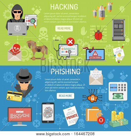 Cyber Crime horizontal Banners theme hacking and phishing with flat Icons Hacker, virus, spam. vector illustration. infographics