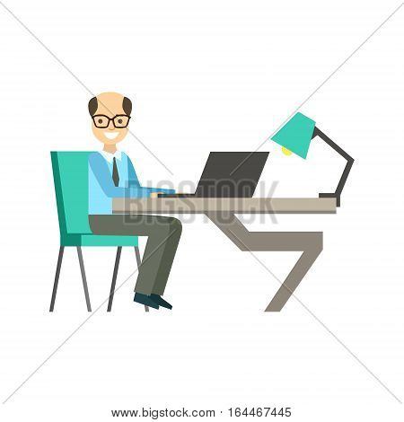 Bold Man In Glassins At His Working Desk, Coworking Informal Atmosphere In Modern Design Office Infographic Illustration. Office Worker In Comfortable Working Environment Simple Cartoon Drawing.